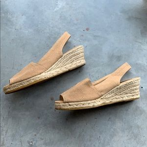 Shoes - Handmade Raffia Platform Peep Toe Slingback Wedge